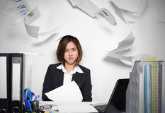 The businesswoman Asian serious and busy with trouble her working Stock Images