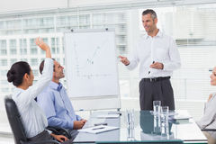 Businesswoman asking question during her colleagues presentation Royalty Free Stock Photo