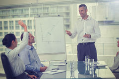 Businesswoman asking question during her colleagues presentation Stock Image