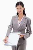 Businesswoman asking for signature Royalty Free Stock Photo