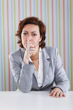 Businesswoman asking for silence Royalty Free Stock Image