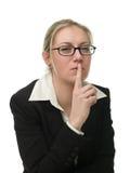 Businesswoman asking to keep a secret Stock Photo