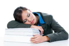 Businesswoman Asleep On Files Stock Image