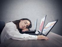 Female worker falls asleep while simultaneously working on three laptops royalty free stock images