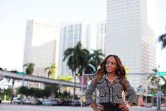 Businesswoman At Downtown Miami Stock Image