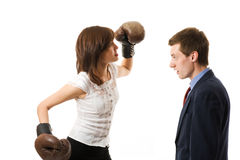 Businesswoman attacks businessman. The young japanese businesswoman attacks businessman. Isolated on white background royalty free stock photos