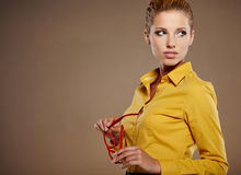 Businesswoman in autumn colors Stock Photos