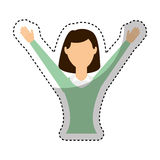 businesswoman avatar with hands up Royalty Free Stock Images