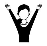 businesswoman avatar with hands up Stock Photo