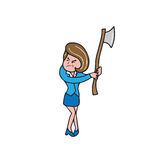 Businesswoman with axe Stock Images