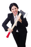 Businesswoman with axe isolated on white Stock Image