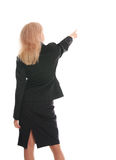 Businesswoman a back and shows aside a hand 2 Royalty Free Stock Images