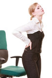 Businesswoman with backache back pain isolated Stock Photography