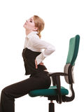 Businesswoman with backache back pain isolated Royalty Free Stock Photography