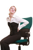 Businesswoman with backache back pain isolated Royalty Free Stock Photo