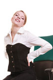 Businesswoman with backache back pain isolated Royalty Free Stock Image