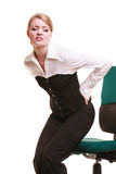 Businesswoman with backache back pain isolated Stock Photo