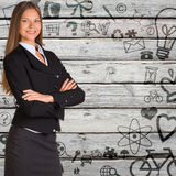 Businesswoman with background of various icons Stock Photo