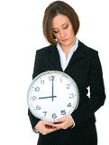 Businesswoman Bad Mood Holding Clock Showing 9 Royalty Free Stock Photo