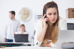 Businesswoman in bad mood royalty free stock photos