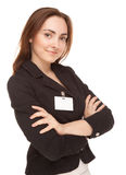 Businesswoman with badge in black jacket isolated Royalty Free Stock Photos