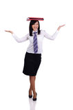 Businesswoman balance with papers Royalty Free Stock Photography