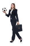 Businesswoman with ball Royalty Free Stock Image