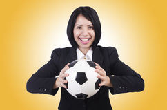 Businesswoman with ball Royalty Free Stock Photo