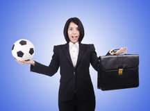 The businesswoman with ball on white Stock Images