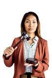 Businesswoman banging a law hammer on the gavel Royalty Free Stock Photos