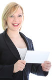 Businesswoman with bank envelope Royalty Free Stock Image