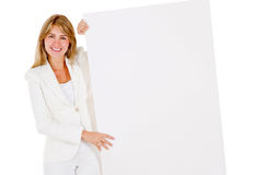 Businesswoman with banner Stock Images