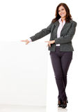 Businesswoman with a banner Stock Image