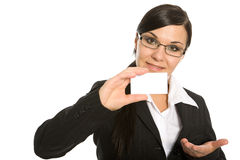 Businesswoman with banner Royalty Free Stock Photos