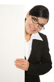 Businesswoman with banner Royalty Free Stock Photography