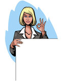 Businesswoman with banner Stock Photos
