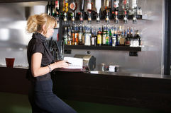 businesswoman bar Obraz Stock