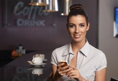 Businesswoman in bar Stock Photography