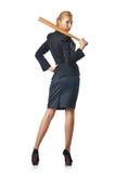 Businesswoman with baseball bat Royalty Free Stock Photo