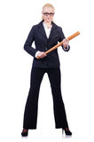 Businesswoman with baseball bat Stock Photos