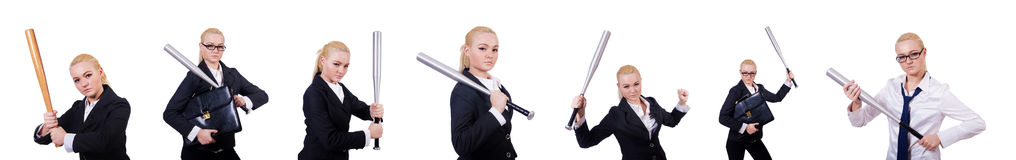 The businesswoman with baseball bat on white Stock Image