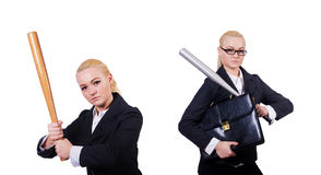 The businesswoman with baseball bat on white Royalty Free Stock Photography