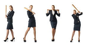 The businesswoman with baseball bat on white Royalty Free Stock Images