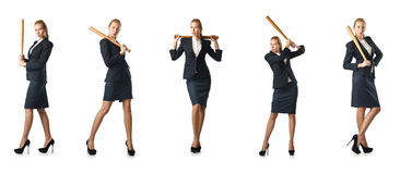 The businesswoman with baseball bat on white Stock Images