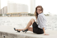 Businesswoman by the bay Royalty Free Stock Photo