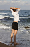 Businesswoman at the beach Royalty Free Stock Photography