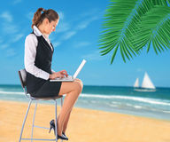 Businesswoman on the beach. Royalty Free Stock Photography