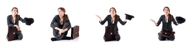 The businesswoman begging some money on white Royalty Free Stock Photography