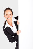 Businesswoman behind white board Royalty Free Stock Photos