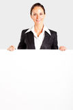 Businesswoman behind white board Stock Image
